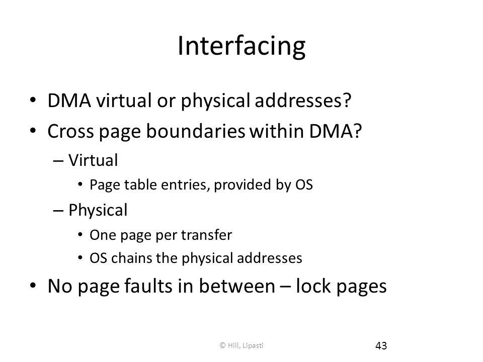 © Hill, Lipasti 43 Interfacing DMA virtual or physical addresses.