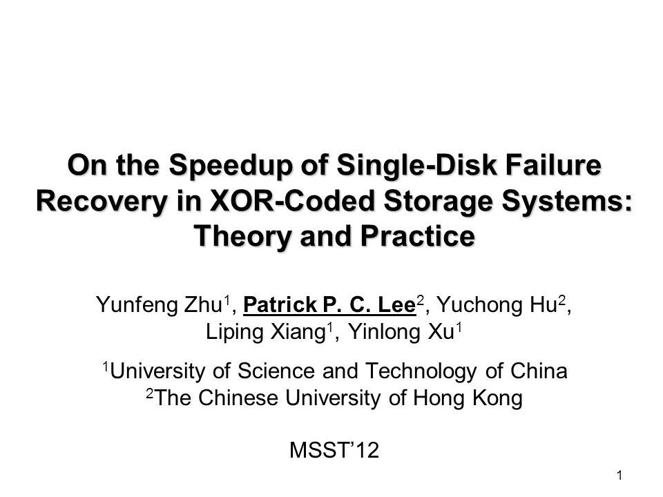 Challenges Hybrid recovery cannot be easily generalized to STAR and CRS codes, due to different data layouts Enumeration recovery has exponential computational overhead Can we develop an efficient scheme for efficient single-disk failure recovery.