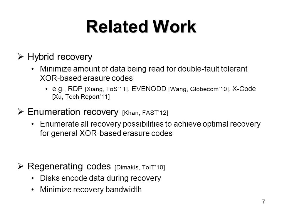 Conclusions Propose a replace recovery algorithm provides near-optimal recovery performance for STAR and CRS codes has a polynomial computational complexity Implement replace recovery on a parallelized architecture Show via testbed experiments that replace recovery speeds up recovery over conventional Source code: http://ansrlab.cse.cuhk.edu.hk/software/zpacr/ 28