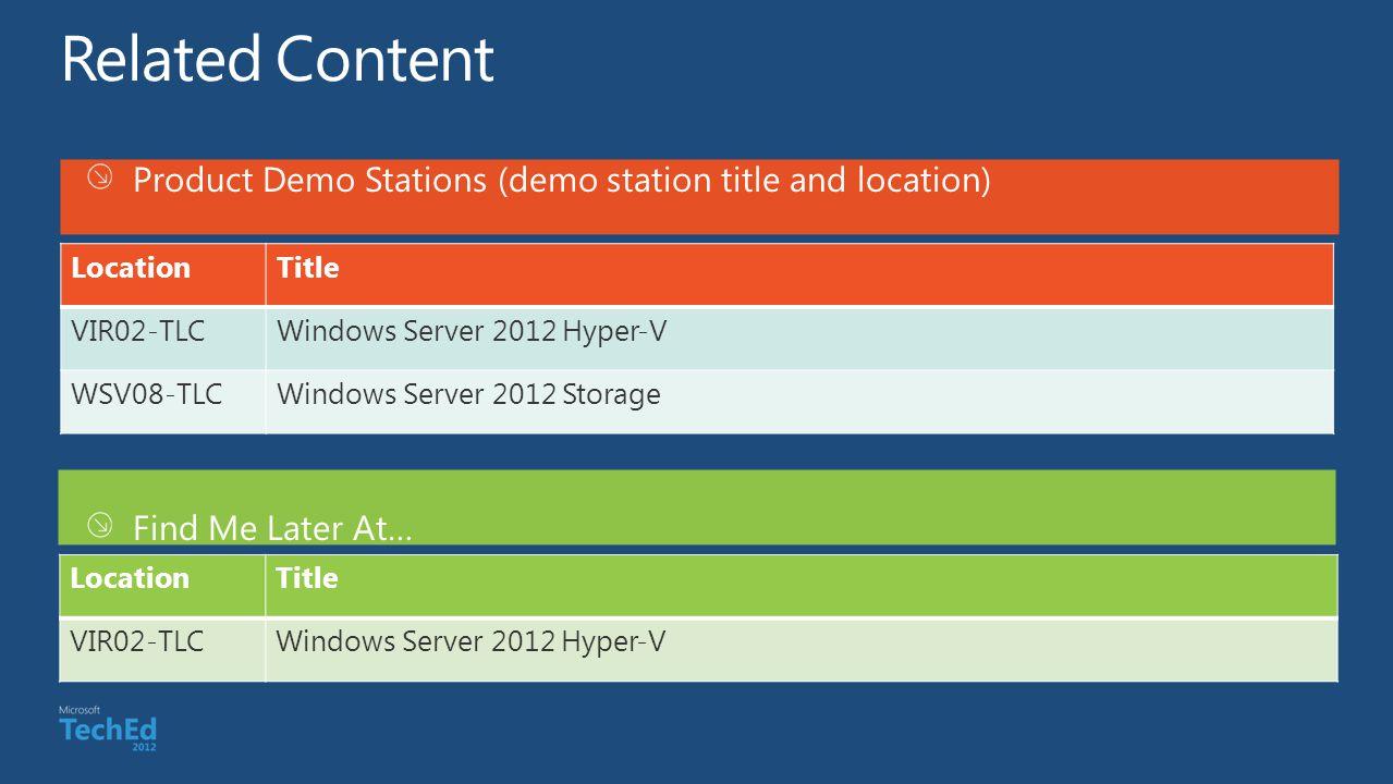 Product Demo Stations (demo station title and location) Find Me Later At… LocationTitle VIR02-TLCWindows Server 2012 Hyper-V WSV08-TLCWindows Server 2012 Storage LocationTitle VIR02-TLCWindows Server 2012 Hyper-V