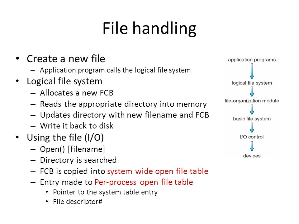 File handling Create a new file – Application program calls the logical file system Logical file system – Allocates a new FCB – Reads the appropriate