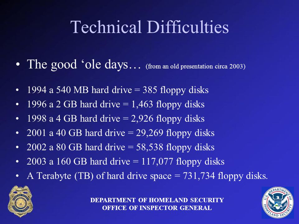 Technical Difficulties DEPARTMENT OF HOMELAND SECURITY OFFICE OF INSPECTOR GENERAL The good ole days… (from an old presentation circa 2003) 1994 a 540 MB hard drive = 385 floppy disks 1996 a 2 GB hard drive = 1,463 floppy disks 1998 a 4 GB hard drive = 2,926 floppy disks 2001 a 40 GB hard drive = 29,269 floppy disks 2002 a 80 GB hard drive = 58,538 floppy disks 2003 a 160 GB hard drive = 117,077 floppy disks A Terabyte (TB) of hard drive space = 731,734 floppy disks.