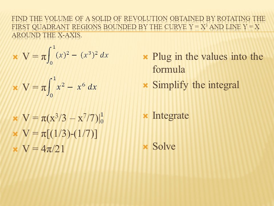 V = π V = π(x 3 /3 – x 7 /7)| V = π[(1/3)-(1/7)] V = 4π/21 Plug in the values into the formula Simplify the integral Integrate Solve