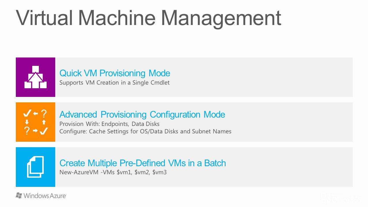 Quick VM Provisioning Mode Supports VM Creation in a Single Cmdlet Create Multiple Pre-Defined VMs in a Batch New-AzureVM -VMs $vm1, $vm2, $vm3 Advanc