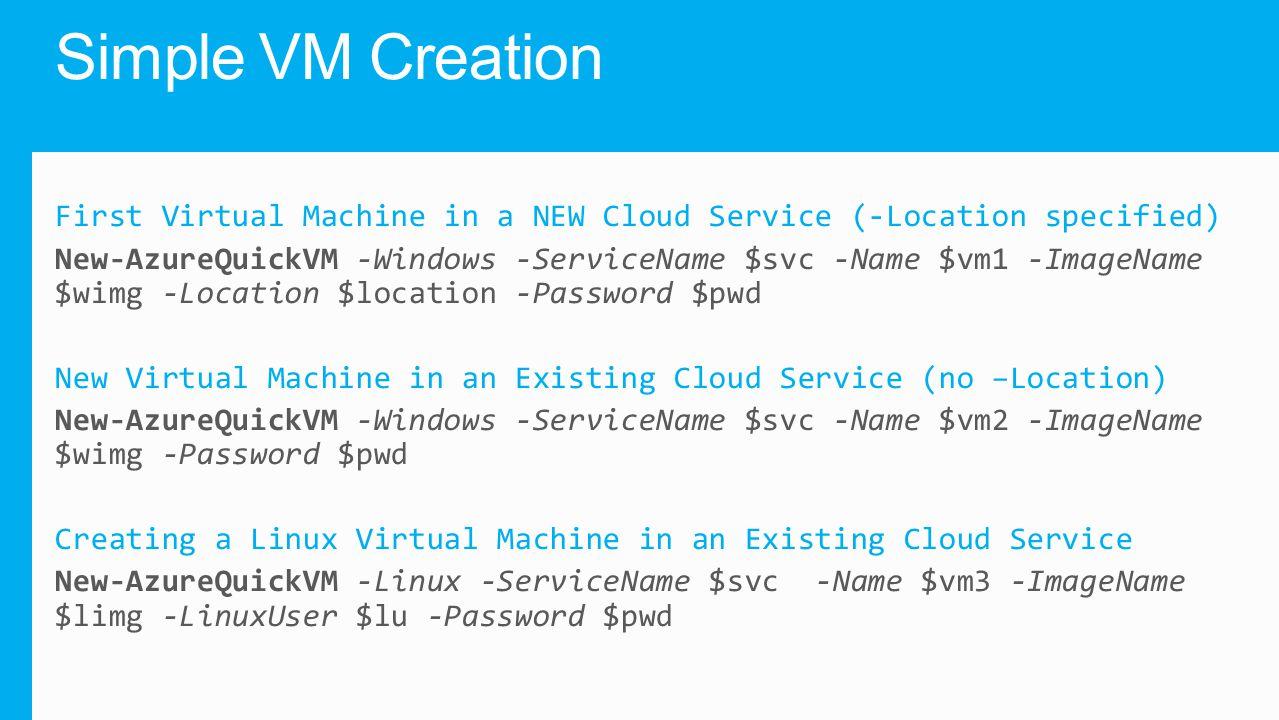 Simple VM Creation