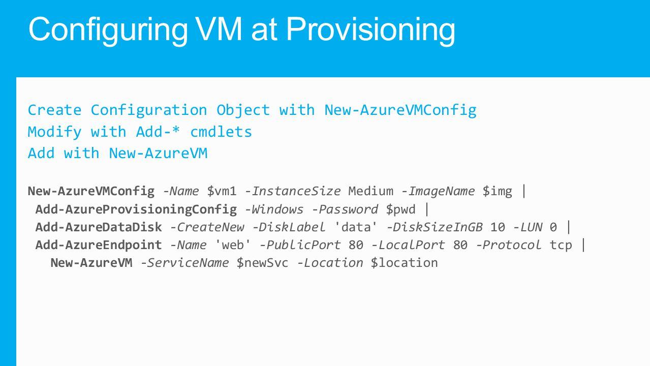 Configuring VM at Provisioning