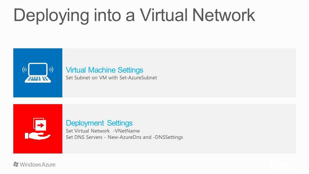 Virtual Machine Settings Set Subnet on VM with Set-AzureSubnet Deployment Settings Set Virtual Network -VNetName Set DNS Servers - New-AzureDns and -D