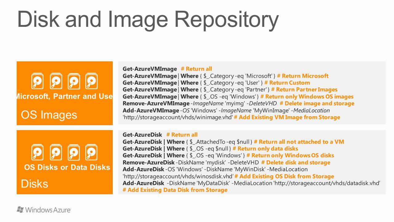 Get-AzureVMImage # Return all Get-AzureVMImage | Where { $_.Category -eq 'Microsoft' } # Return Microsoft Get-AzureVMImage | Where { $_.Category -eq '