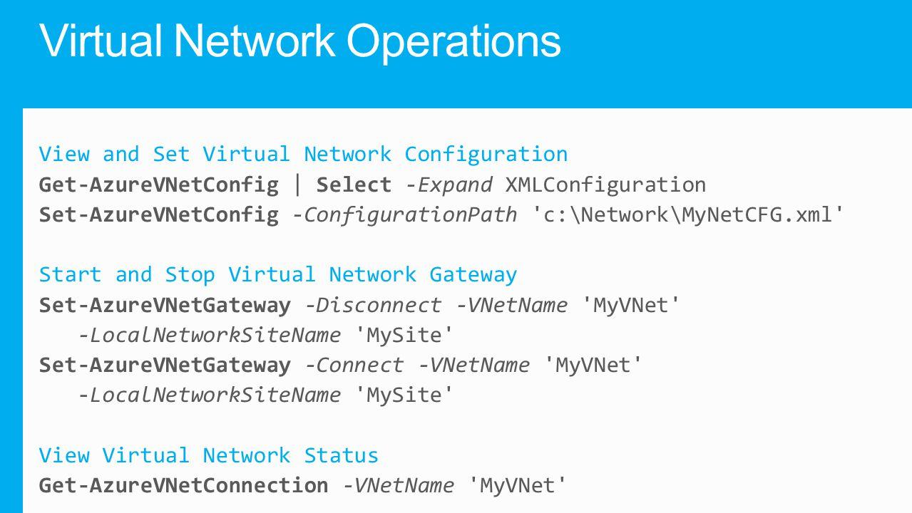 Virtual Network Operations