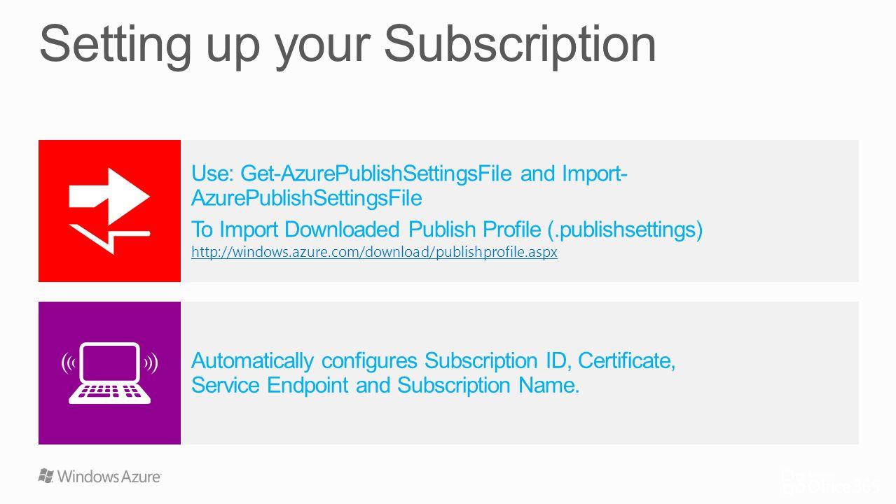 Associate Certificate and Subscription ID $cert = Get-Item cert:\CurrentUser\My\CERTTHUMBPRINT Set-AzureSubscription mysub -Certificate $cert -SubscriptionID $id