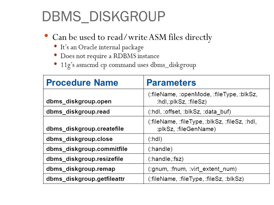 DBMS_DISKGROUP Can be used to read/write ASM files directly Its an Oracle internal package Does not require a RDBMS instance 11gs asmcmd cp command us