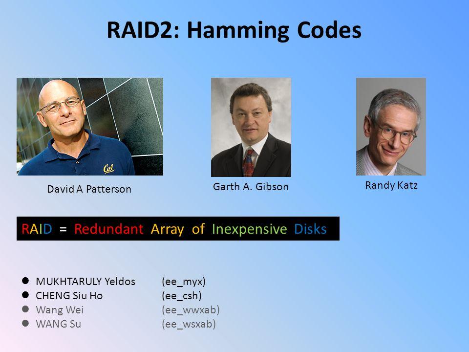 RAID2: Hamming Codes MUKHTARULY Yeldos (ee_myx) CHENG Siu Ho (ee_csh) Wang Wei (ee_wwxab) WANG Su (ee_wsxab) David A Patterson Garth A.