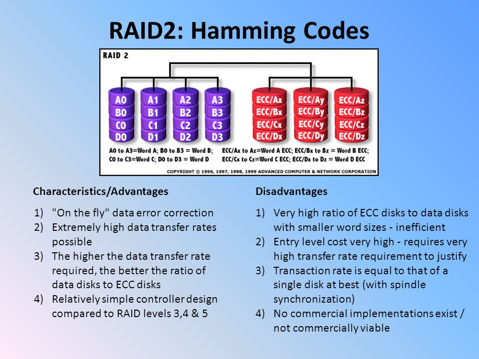 RAID2: Hamming Codes Characteristics/Advantages 1) On the fly data error correction 2)Extremely high data transfer rates possible 3)The higher the data transfer rate required, the better the ratio of data disks to ECC disks 4)Relatively simple controller design compared to RAID levels 3,4 & 5 Disadvantages 1)Very high ratio of ECC disks to data disks with smaller word sizes - inefficient 2)Entry level cost very high - requires very high transfer rate requirement to justify 3)Transaction rate is equal to that of a single disk at best (with spindle synchronization) 4)No commercial implementations exist / not commercially viable