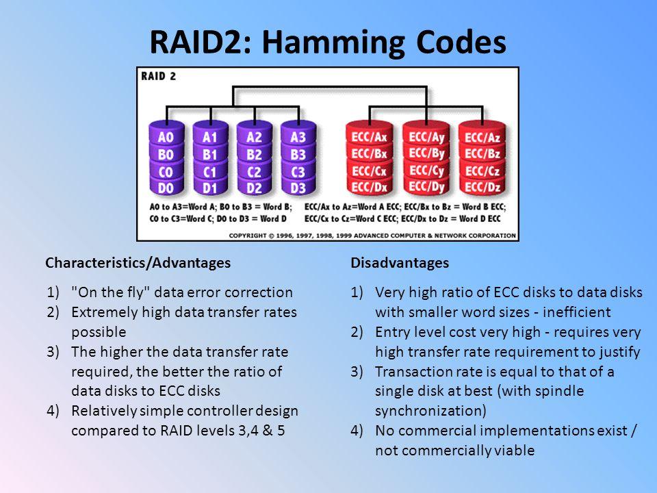 Richard Hamming RAID2: Hamming Codes Hamming code is a linear error- correcting code named after its inventor, Richard Hamming Detect up to two simultaneous bit errors Correct single-bit errors