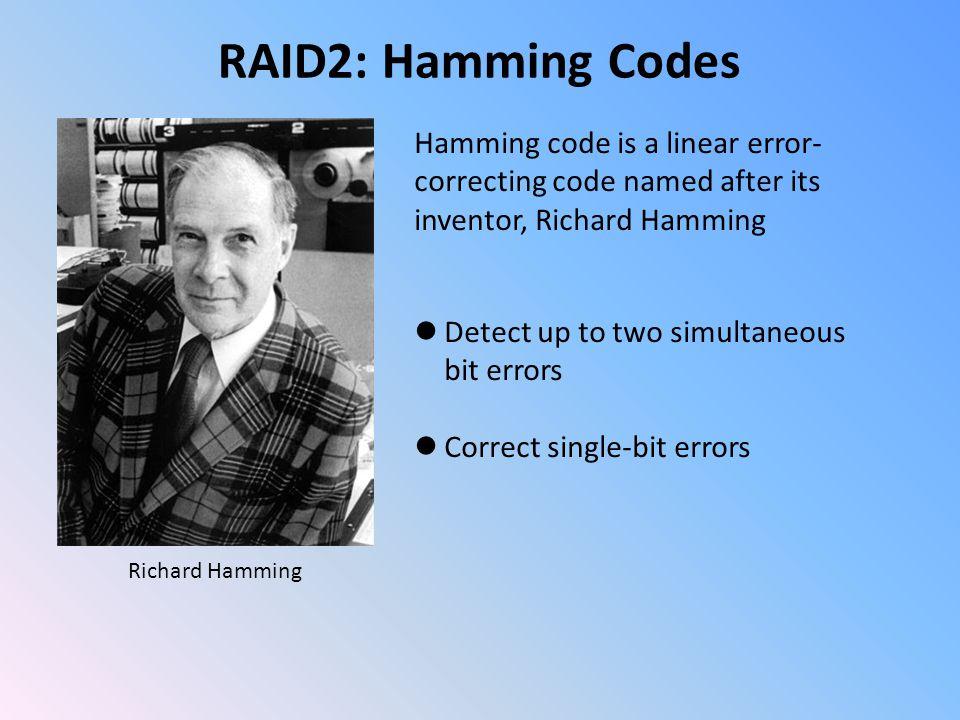 RAID2: Hamming Codes Hamming(7,4) code It encodes 4 data bits into 7 bits by adding three parity bits.