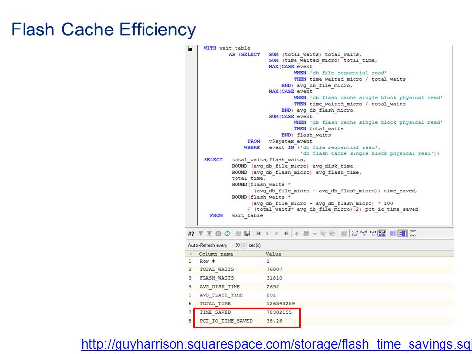 Flash Cache Efficiency http://guyharrison.squarespace.com/storage/flash_time_savings.sql