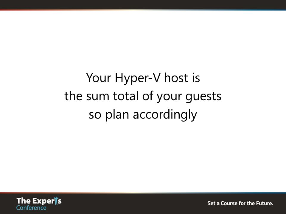 Your Hyper-V host is the sum total of your guests so plan accordingly