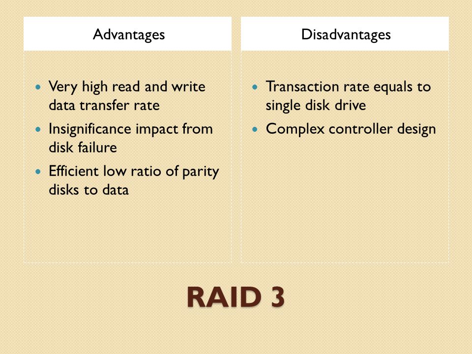 RAID 3 AdvantagesDisadvantages Very high read and write data transfer rate Insignificance impact from disk failure Efficient low ratio of parity disks to data Transaction rate equals to single disk drive Complex controller design