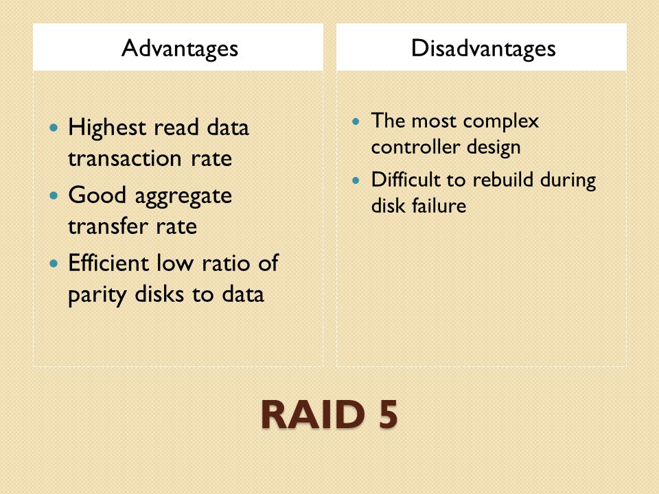 RAID 5 AdvantagesDisadvantages Highest read data transaction rate Good aggregate transfer rate Efficient low ratio of parity disks to data The most complex controller design Difficult to rebuild during disk failure
