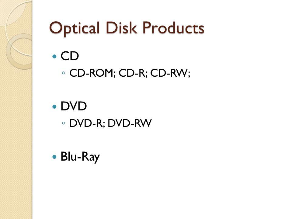 Optical Disk Products CD CD-ROM; CD-R; CD-RW; DVD DVD-R; DVD-RW Blu-Ray