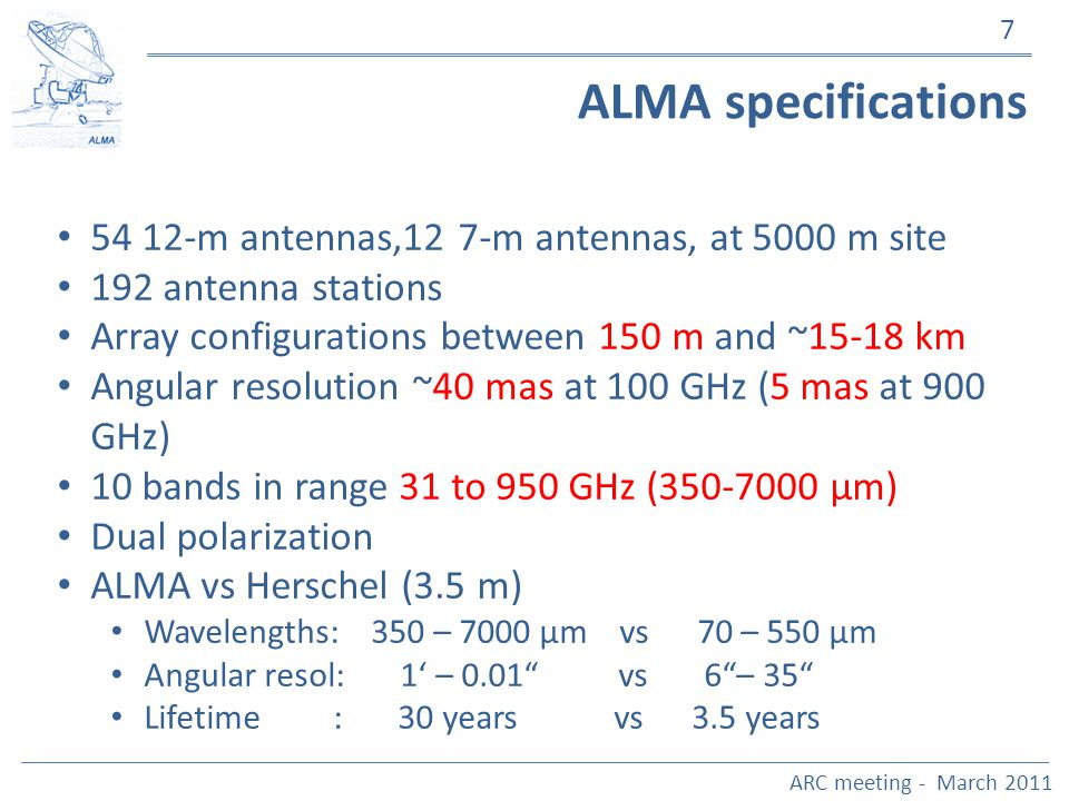 7 ALMA specifications 54 12-m antennas,12 7-m antennas, at 5000 m site 192 antenna stations Array configurations between 150 m and ~15-18 km Angular r