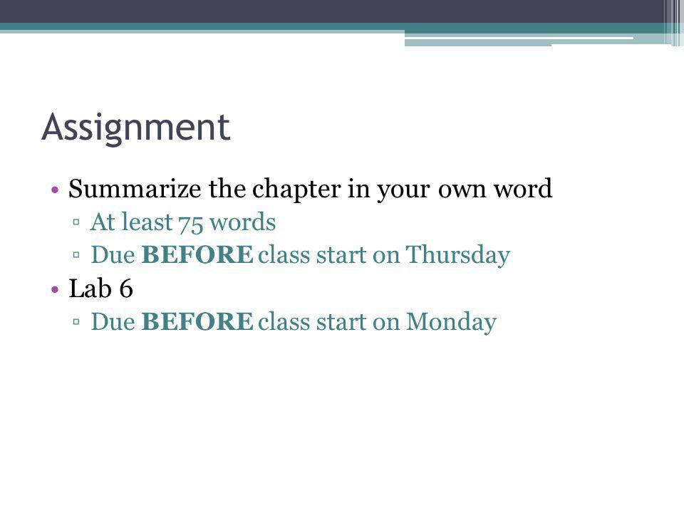 Assignment Summarize the chapter in your own word At least 75 words Due BEFORE class start on Thursday Lab 6 Due BEFORE class start on Monday