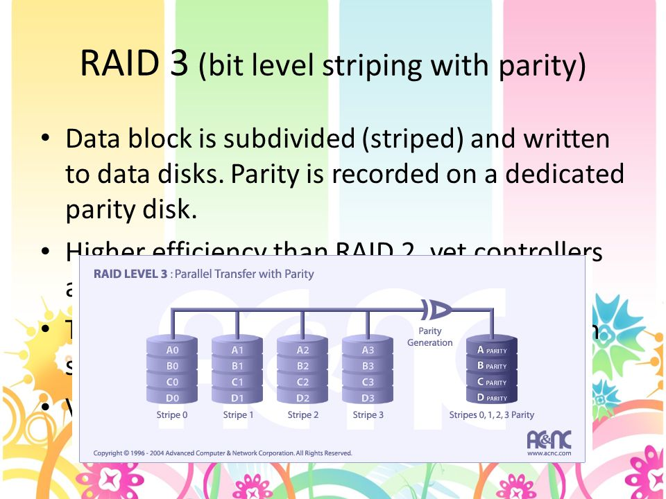 RAID 3 (bit level striping with parity) Data block is subdivided (striped) and written to data disks.