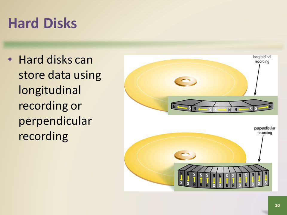Hard Disks Hard disks can store data using longitudinal recording or perpendicular recording 10