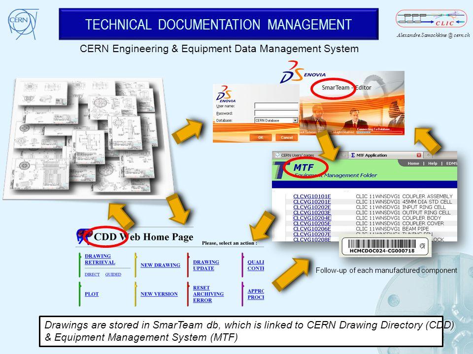 Alexandre.Samochkine @ cern.ch TECHNICAL DOCUMENTATION MANAGEMENT 12 CERN Engineering & Equipment Data Management System Follow-up of each manufacture
