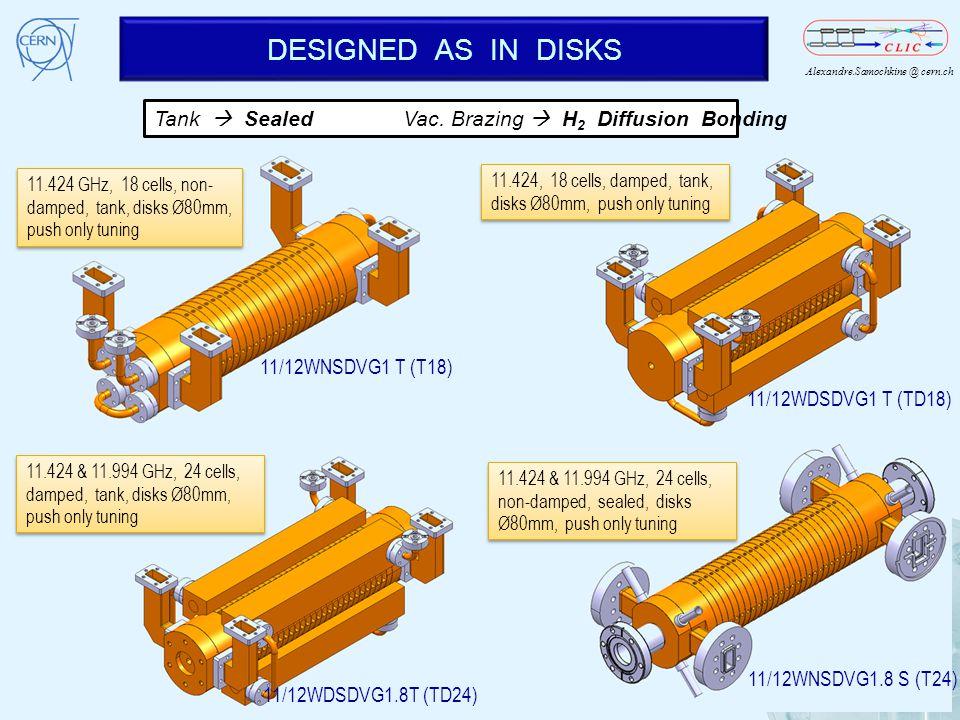 Alexandre.Samochkine @ cern.ch DESIGNED AS IN DISKS 13 11.424 & 11.994 GHz, 24 cells, damped, tank, disks Ø80mm, push only tuning 11/12WDSDVG1.8T (TD2
