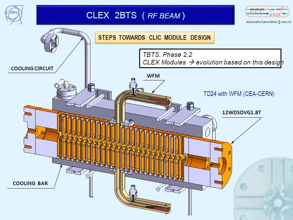 Alexandre.Samochkine @ cern.ch CLEX 2BTS ( RF BEAM ) 16 COOLING CIRCUIT COOLING BAR WFM 12WDSDVG1.8T TBTS, Phase 2.2 CLEX Modules evolution based on t
