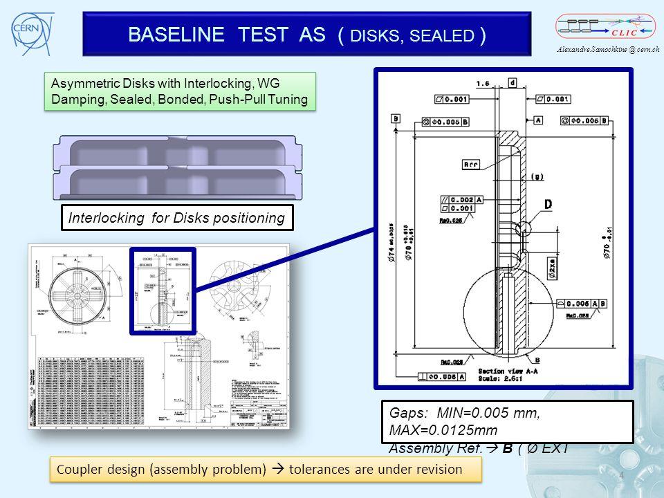 Alexandre.Samochkine @ cern.ch BASELINE TEST AS ( DISKS, SEALED ) XXXXXXXXXXXXXXXXX Gaps: MIN=0.005 mm, MAX=0.0125mm Assembly Ref. B ( Ø EXT ±0.0025 )