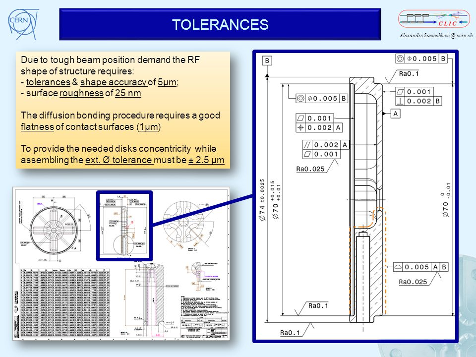 Alexandre.Samochkine @ cern.ch TOLERANCES 5 Due to tough beam position demand the RF shape of structure requires: - tolerances & shape accuracy of 5µm