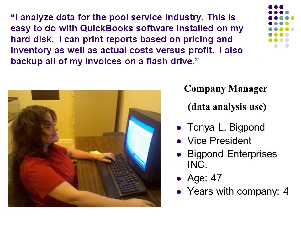 I analyze data for the pool service industry.