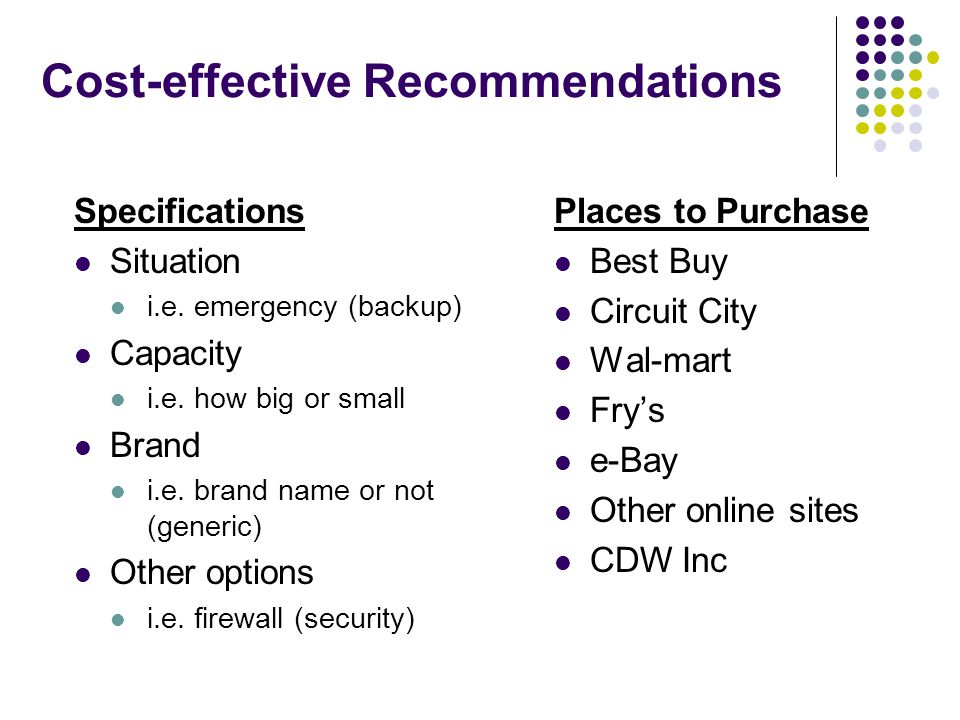Cost-effective Recommendations Specifications Situation i.e.
