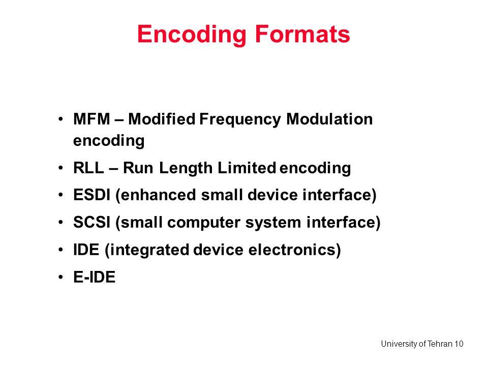 University of Tehran 10 Encoding Formats MFM – Modified Frequency Modulation encoding RLL – Run Length Limited encoding ESDI (enhanced small device in
