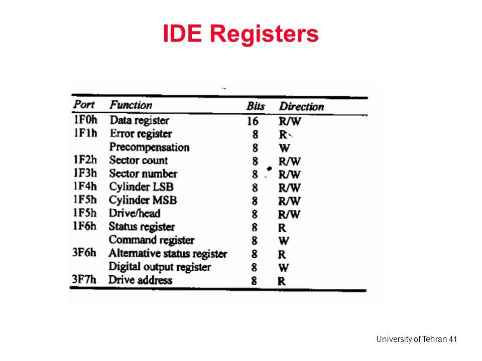 University of Tehran 41 IDE Registers