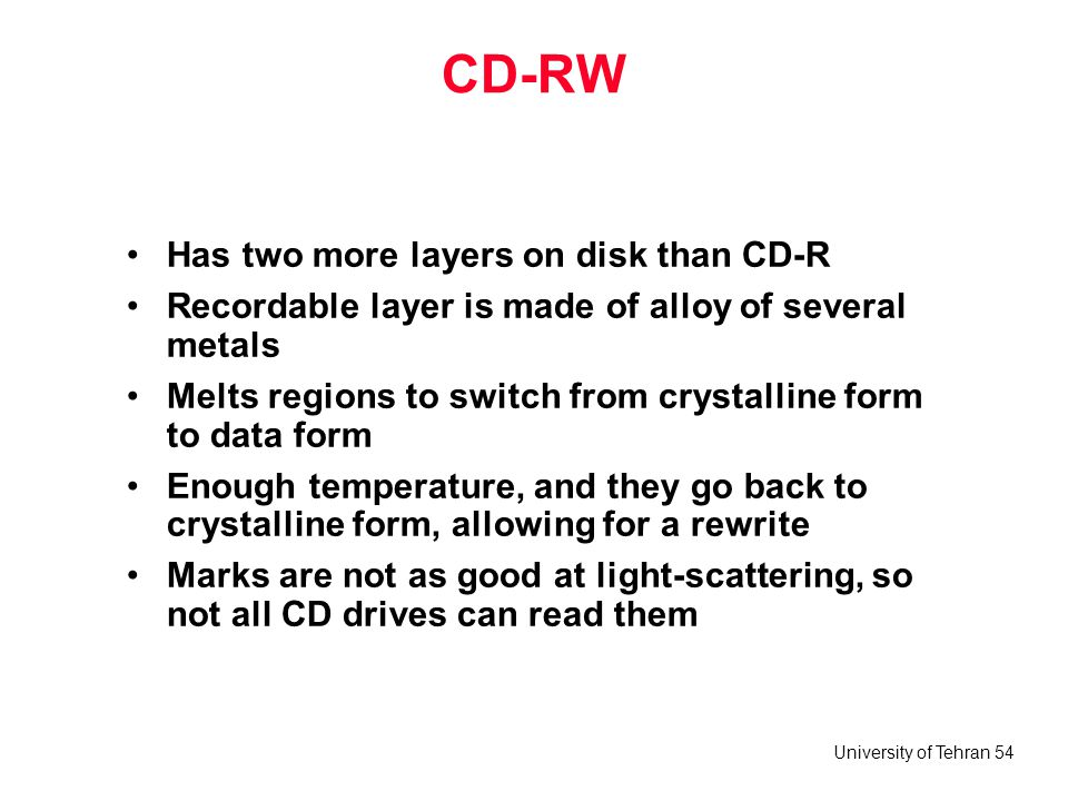 University of Tehran 54 CD-RW Has two more layers on disk than CD-R Recordable layer is made of alloy of several metals Melts regions to switch from c