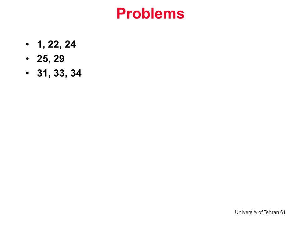 University of Tehran 61 Problems 1, 22, 24 25, 29 31, 33, 34