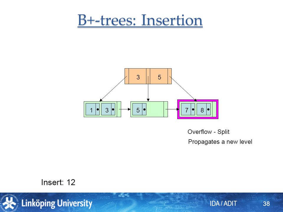 IDA / ADIT 38 B+-trees: Insertion