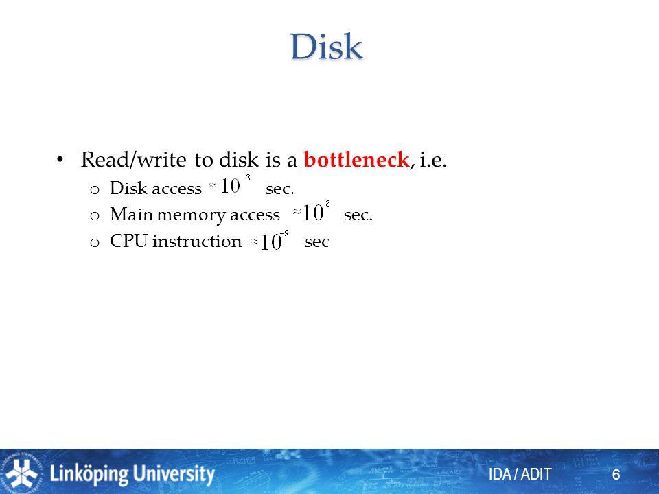 IDA / ADIT 17 Clustering index Efficiency gain ? Maintenance cost ?