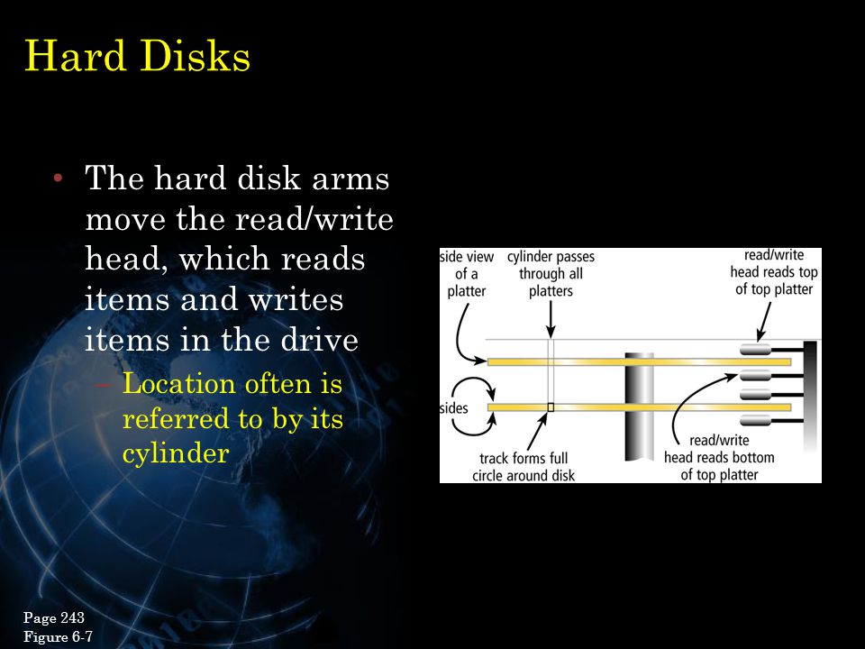 Hard Disks The hard disk arms move the read/write head, which reads items and writes items in the drive – Location often is referred to by its cylinde
