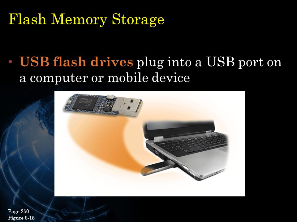 Flash Memory Storage USB flash drives plug into a USB port on a computer or mobile device 20 Page 250 Figure 6-15