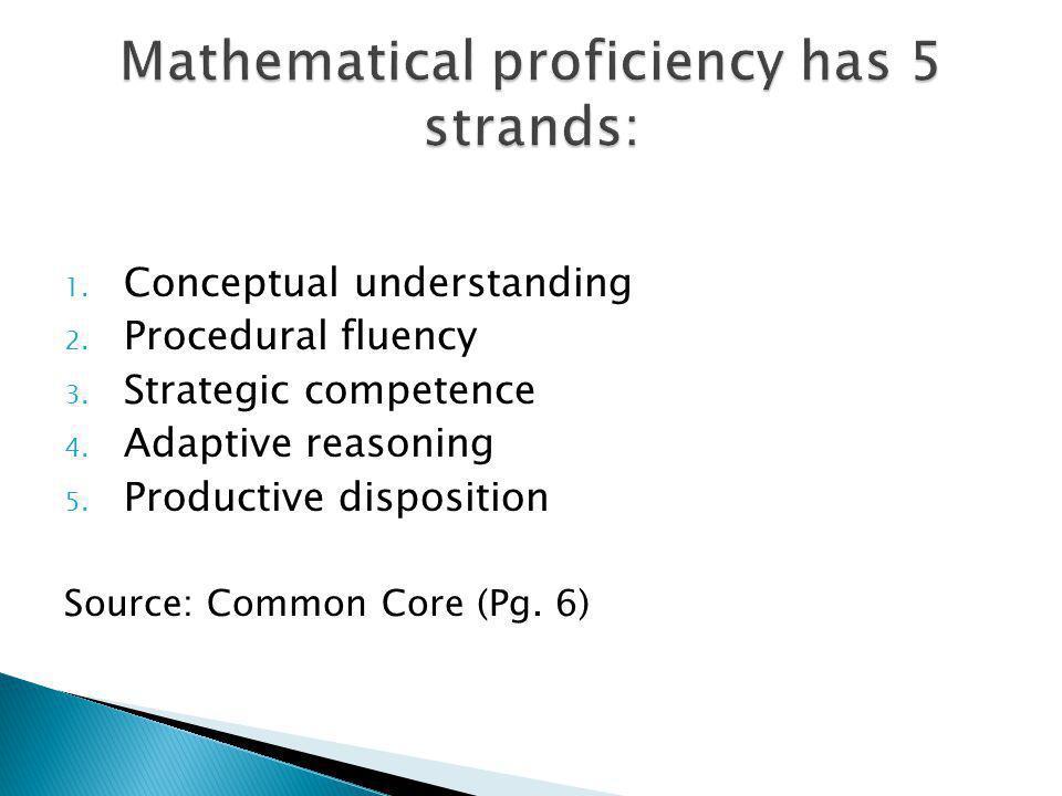 1. Conceptual understanding 2. Procedural fluency 3.