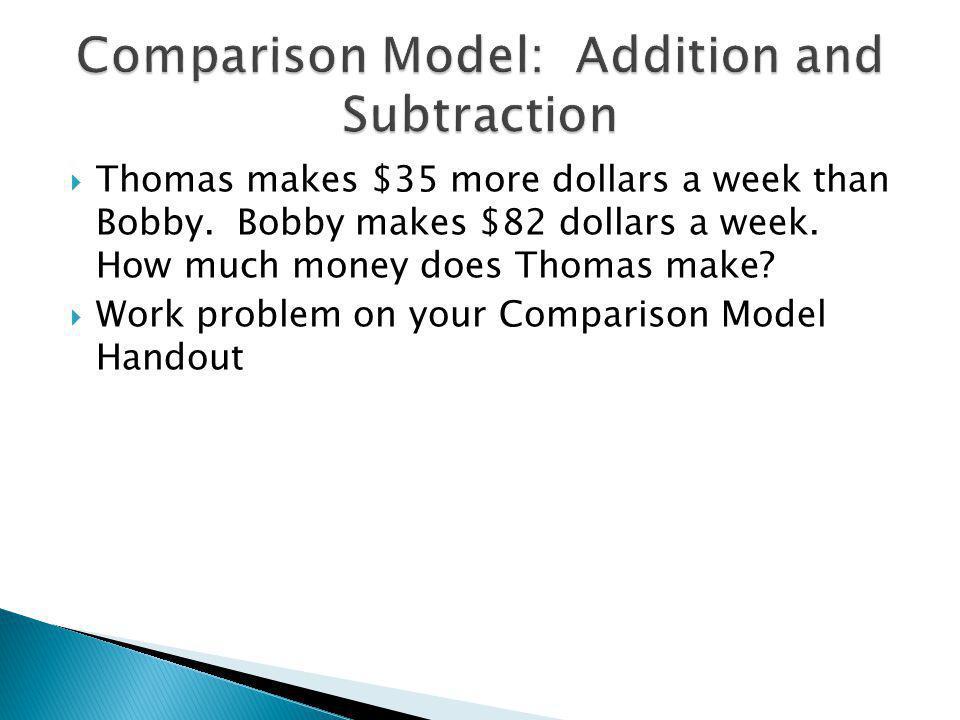 Thomas makes $35 more dollars a week than Bobby. Bobby makes $82 dollars a week.
