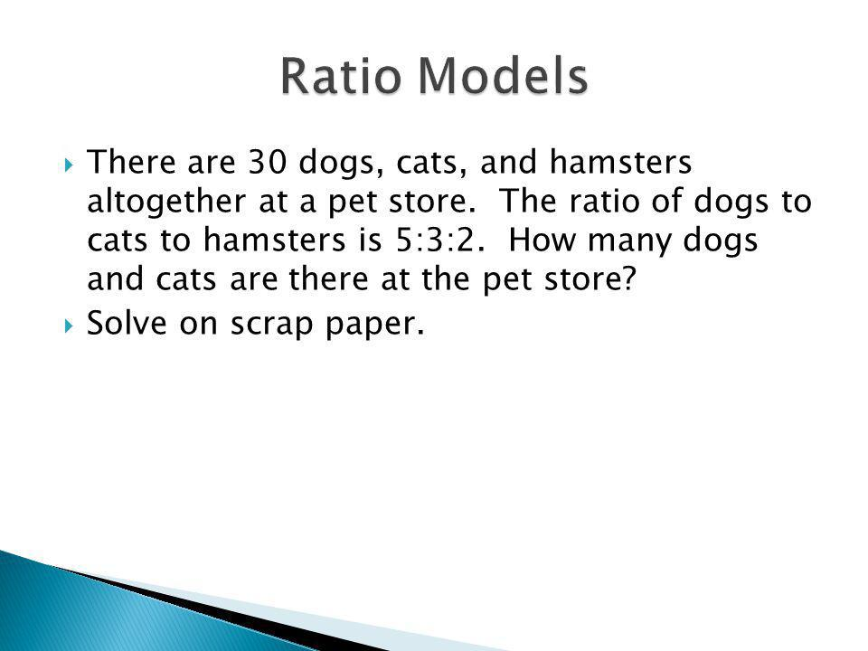 There are 30 dogs, cats, and hamsters altogether at a pet store.