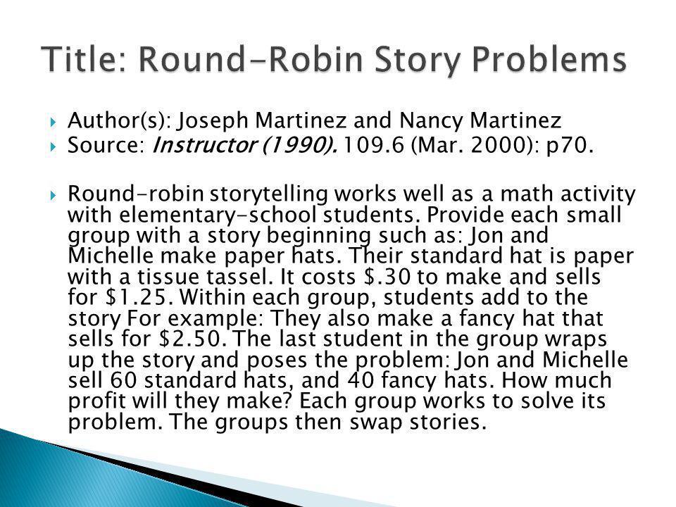 Author(s): Joseph Martinez and Nancy Martinez Source: Instructor (1990).