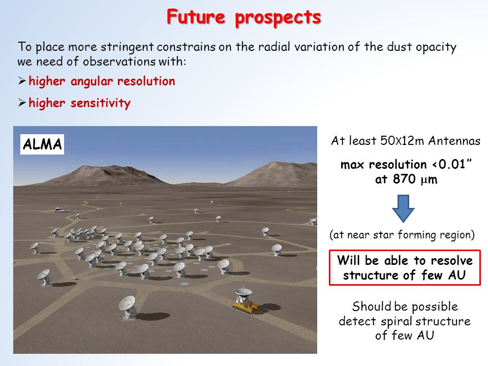 Future prospects ALMA To place more stringent constrains on the radial variation of the dust opacity we need of observations with: higher angular resolution higher sensitivity At least 50 X 12m Antennas max resolution <0.01 at 870 m Will be able to resolve structure of few AU (at near star forming region) Should be possible detect spiral structure of few AU