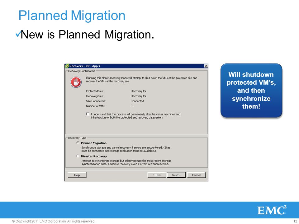12© Copyright 2011 EMC Corporation. All rights reserved. Will shutdown protected VMs, and then synchronize them! Planned Migration New is Planned Migr
