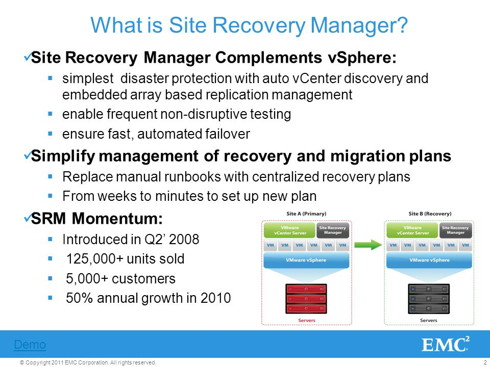 2© Copyright 2011 EMC Corporation. All rights reserved. What is Site Recovery Manager? Site Recovery Manager Complements vSphere: simplest disaster pr